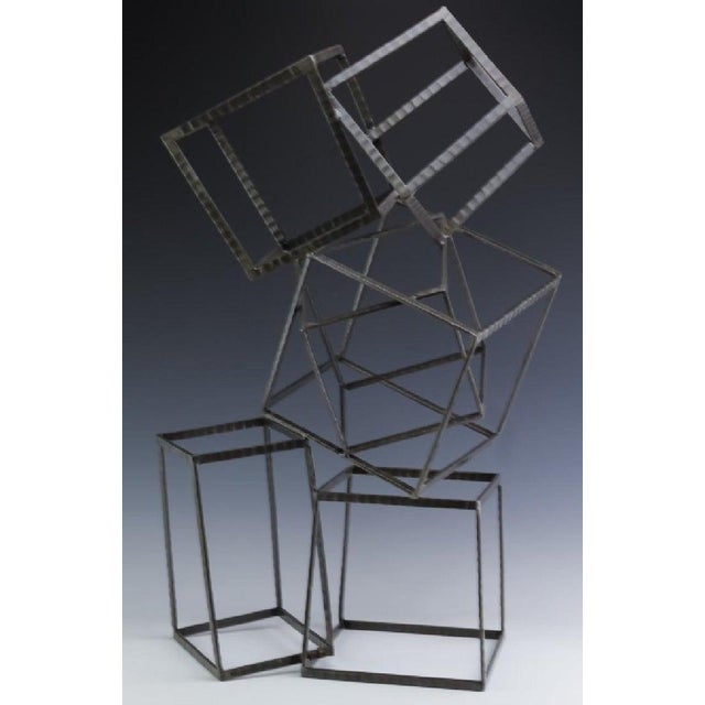 Modern Forged Iron & Travertine Quadrilaterals Sculpture For Sale In Atlanta - Image 6 of 11