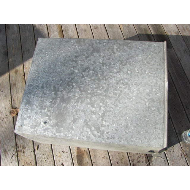 Industrial Style Galvanized Steel Waste Basket For Sale - Image 9 of 13