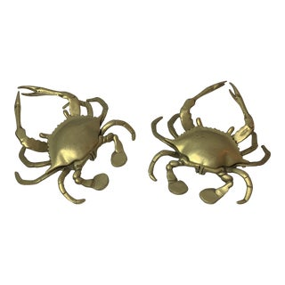 1960s Brass Crab Ashtrays - a Pair For Sale