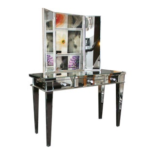 Custom Beveled Mirrored Vanity with Tryptic Mirror For Sale