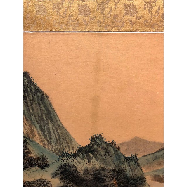 Blue Vintage Silk Asian Folding Screen For Sale - Image 8 of 10