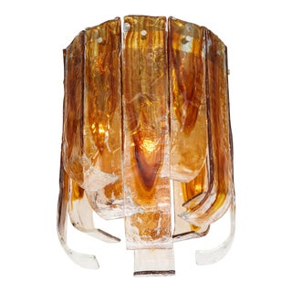 Mazzega Clear and Amber Murano Glass Flush Mount For Sale