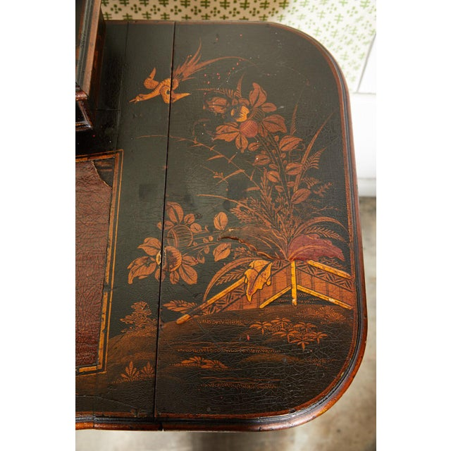 Black 19th Century Regency Ebonized Chinoiserie Writing Table For Sale - Image 8 of 11