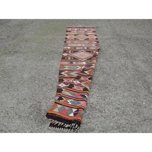 Vintage Turkish Kilim Rug - 2′8″ × 12′5″ For Sale - Image 10 of 11