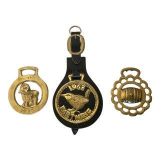 Vintage English Horse Brasses - Set of 3