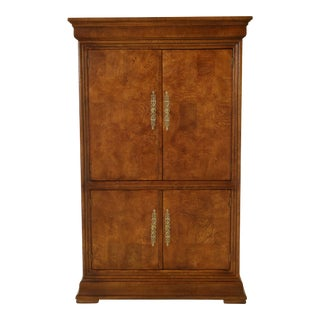 1980s Henredon Charles X Burl Elm Armoire Chest For Sale