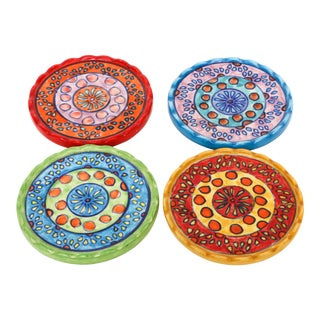 Bohemian hand painted ceramic coasters - Set of 4