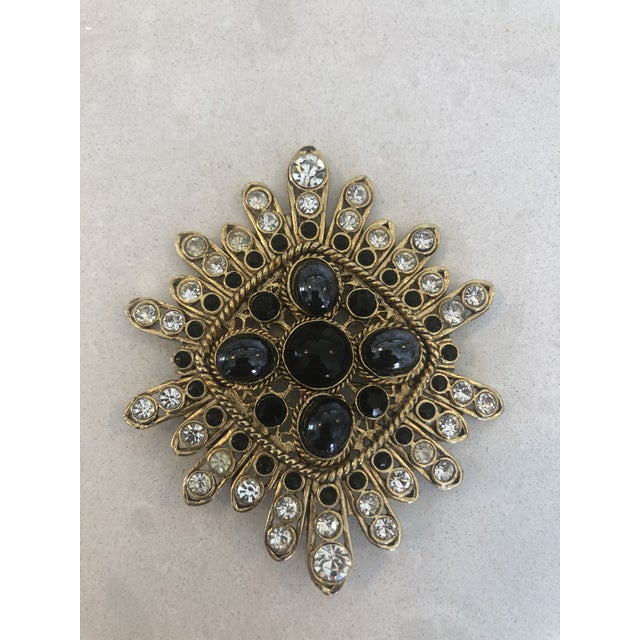 Mid-Century Modern Large Filigree Crystallized Pin For Sale - Image 3 of 6