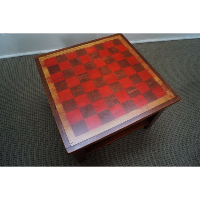 Solid Pine Primitive Checkerboard Top Side Table - Image 2 of 10