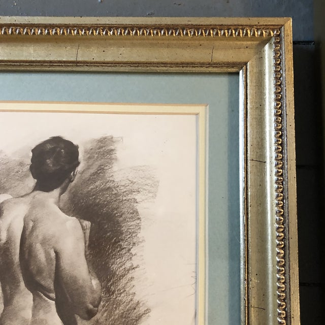 Gallery Wall Collection 2 Male Nude Vintage Lithographs Framed For Sale - Image 4 of 7