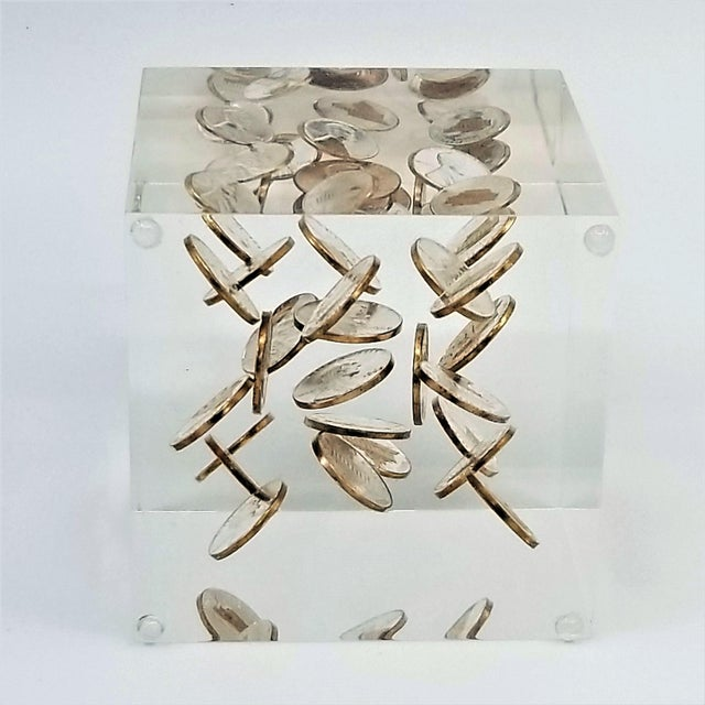 1960s Pop Art Mid Century Modern Lucite Sculpture of Pennies Dated 1970 - Andy Warhol Abstract Surrealism Palm Beach Boho Chic For Sale - Image 5 of 12