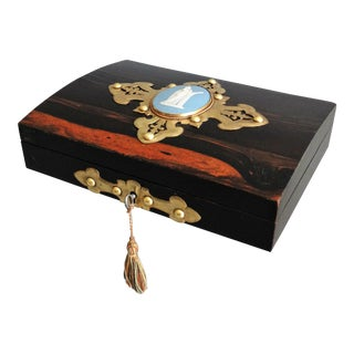 Antique English Coromandel Playing Cards Box For Sale