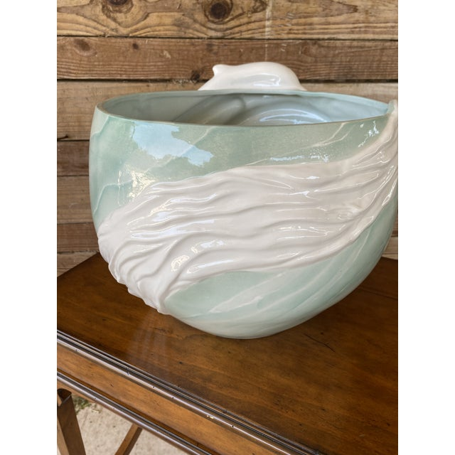 1970s Sculptural Italian Dolphin Ceramic Bowl For Sale - Image 4 of 12