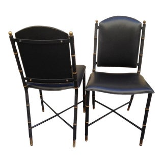 Jacques Adnet Rare Vintage Pair of Hand-Stitched Black Leather Chairs For Sale