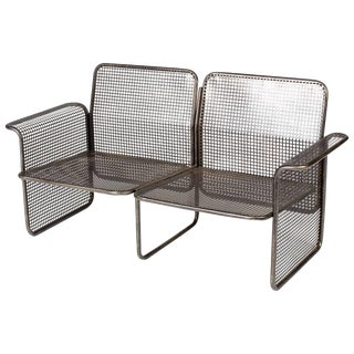 Mid-Century Modern Industrial Metal Wire Two-Seat Sofa From France For Sale