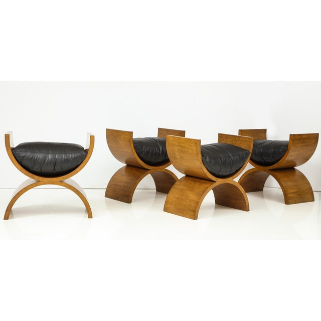 Contemporary Curule Benches by Jay Spectre (Set of 4) For Sale - Image 3 of 13