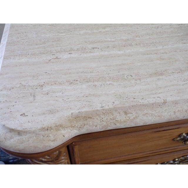 Solid oak Bernhardt dresser has travertine top excellent condition