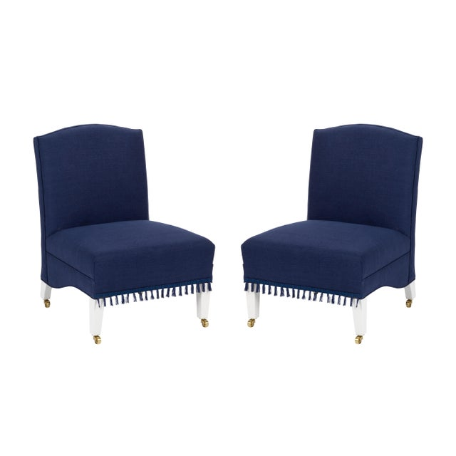 Casa Cosima Sintra Chair in Cadet Blue Linen, a Pair For Sale - Image 10 of 10
