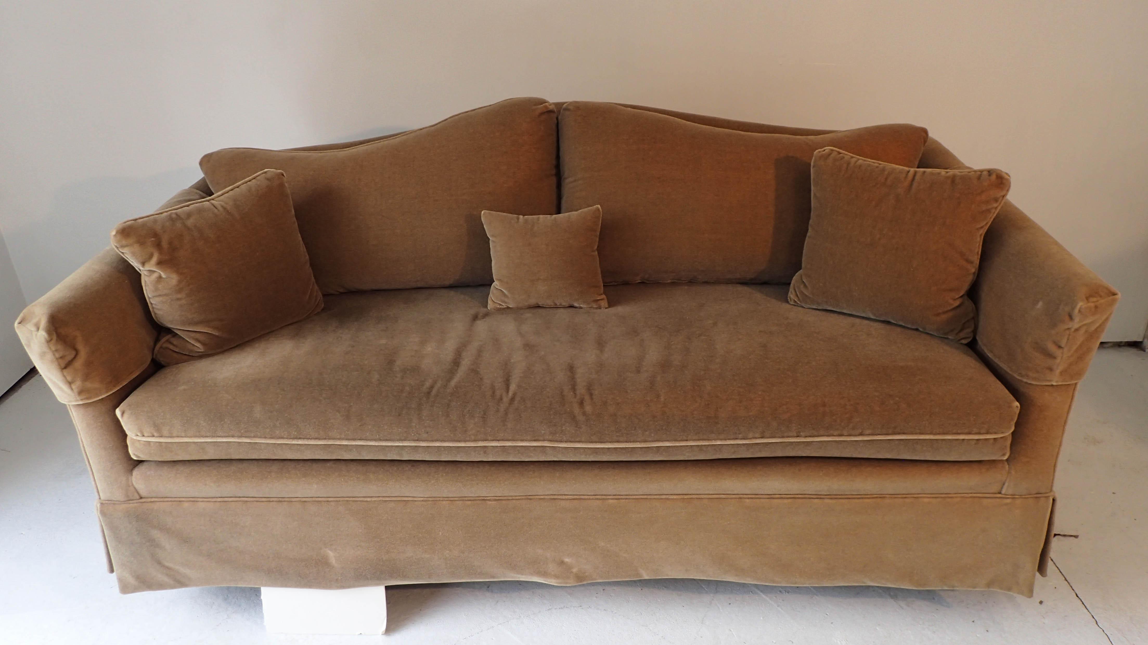 Henredon Champagne Camel Back Mohair Sofa   Image 3 Of 7
