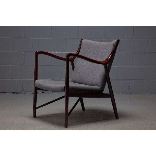 Rosewood Finished Danish Modern Chair in Style of Finn Juhl / Niels Vodder Nv45 For Sale In Boston - Image 6 of 6