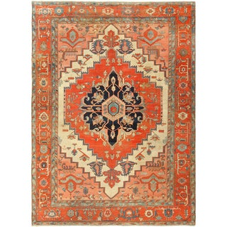 Antique Ivory Background Serapi Persian Rug For Sale
