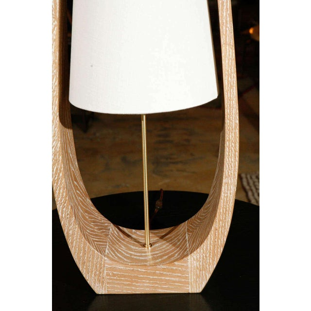 Wood Wishbone Table Lamp in Ceruse Oak For Sale - Image 7 of 7