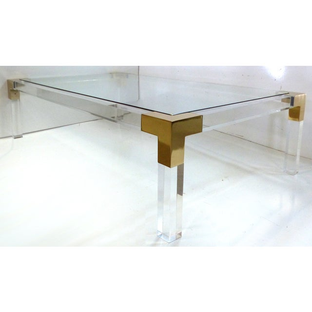Charles Hollis Jones Lucite & Brass Coffee Table - Image 7 of 8