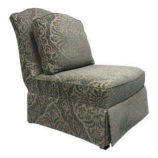 """Theodore Alexander Althorp Slipper Chair in """"Minister Blue"""" Chenille For Sale"""