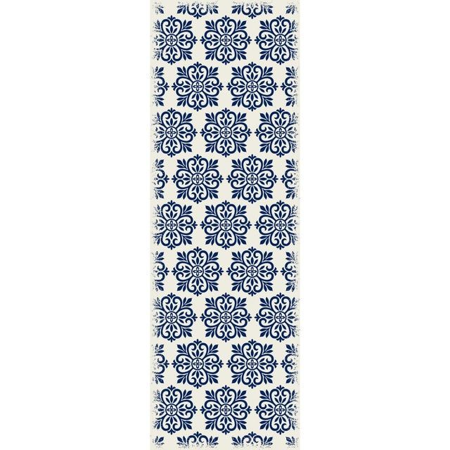 Blue & White Modern European Design Rug - 2' X 6' - Image 2 of 3