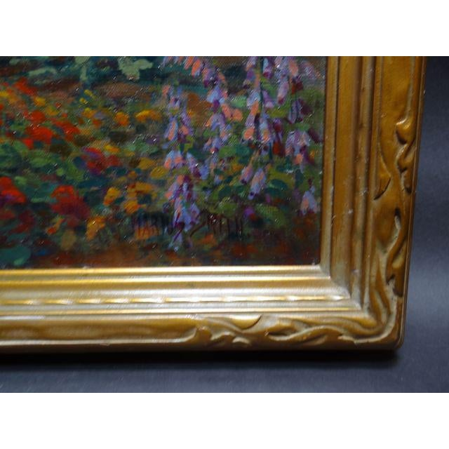 Early 20th Century Antique Marius Smith Mission Floral Landscape Painting For Sale - Image 4 of 9