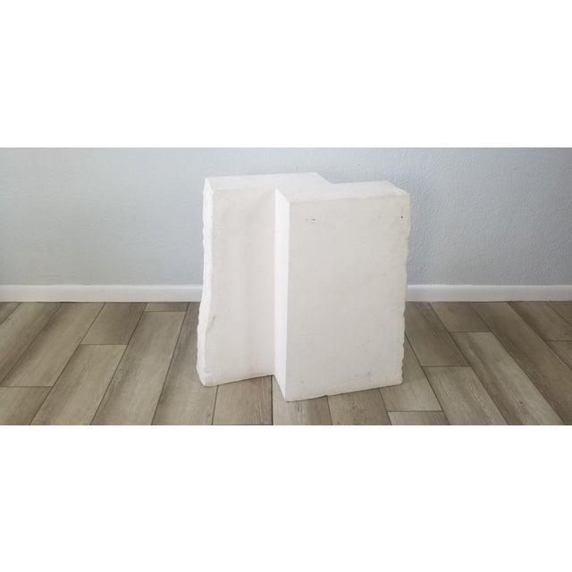 Postmodern Geometric White Plaster Pedestal For Sale - Image 11 of 12