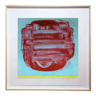 """Uno Red"" Original Monotype on Rives Bfk Paper Print by Karen J Revis For Sale"
