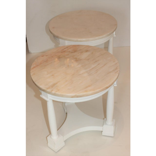 Hollywood Regency Side Tables in White Lacquer With Pink Marble: Tops 1940s - a Pair For Sale - Image 9 of 12