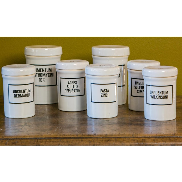Ceramic Set of Seven Ironstone Pharmacy Jars For Sale - Image 7 of 7