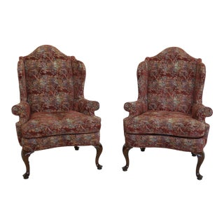 Southwood Queen Anne Upholstered High Back Wing Chairs - a Pair For Sale