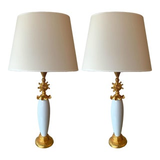 Pair of Sun Lamps Ceramic Gilt Metal by Pierre Casenove for Fondica For Sale