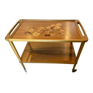 Mid 20th Century German Marquetry Tea Bar Cart For Sale
