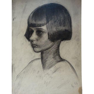 1920s Figurative Charcoal on Paper Drawing, Girl With a Bob by Ejnar Hansen For Sale