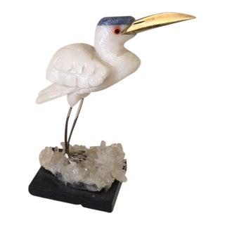 Quartz, Lapis, Brass Carved Bird Figurine For Sale