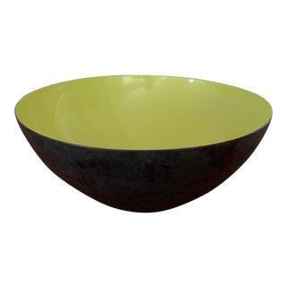 Vintage Krenit Denmark Enameled, Chartreuse, Lime-Green Bowl For Sale