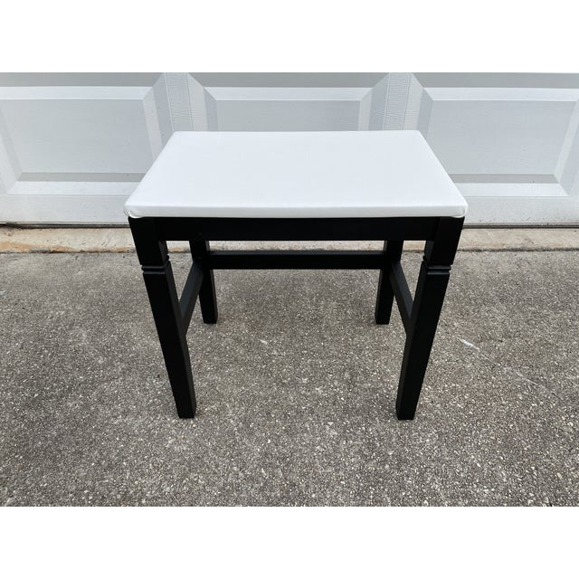 1980s Vinyl Leather Wrapped Top Side Table For Sale - Image 10 of 10