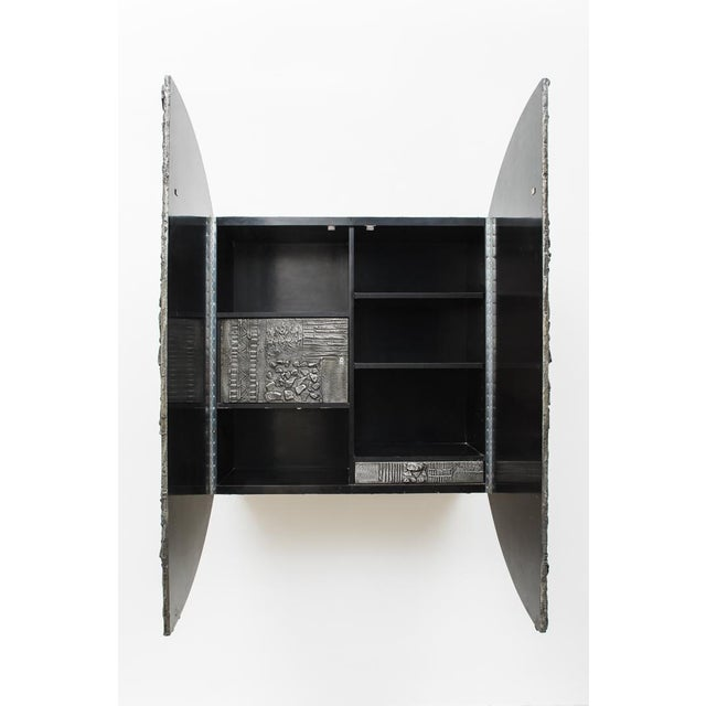 1970s Paul Evans, Sculpted Bronze Disc Bar in Aluminum Argente Finish, Usa, 1975 For Sale - Image 5 of 8