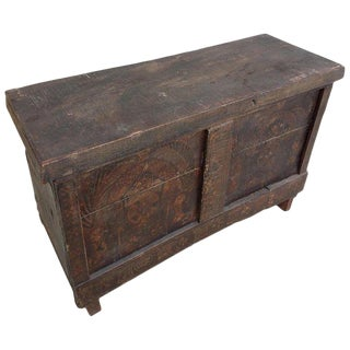 Moroccan Handmade Reclaimed Wood Storage Trunk For Sale