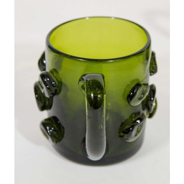 1950s Set of Six Mid-Century Modern Demitasse Mugs in Emerald Glass For Sale - Image 5 of 8
