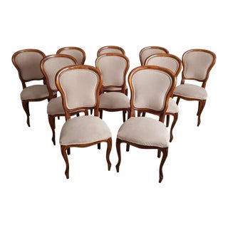 Early 20th C. Louis XV Style Oak Dining Chairs Newly Upholstered - Set of 10 For Sale