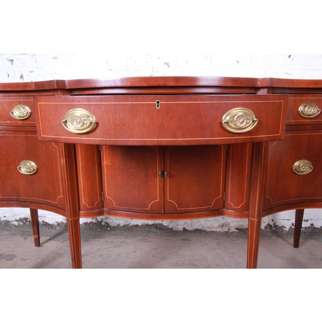 Metal Baker Furniture Hepplewhite Inlaid Mahogany Bow Front Sideboard Credenza For Sale - Image 7 of 13