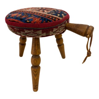 Persian Rug Upholstered Panhandle Footstool For Sale
