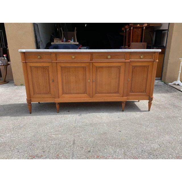 1910s French Louis XVI Antique Mahogany Sideboard or Buffet For Sale - Image 4 of 13