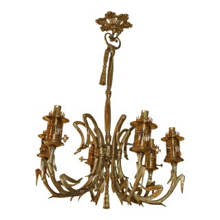 19thc Dore Gilt Bronze Heavy 6 Light Maison Bagues Gas Converted to Electric Chandelier For Sale