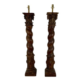 Early 1900s Church Post Floor Lamps - a Pair For Sale